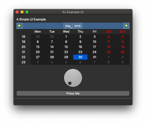 Example App in Dark Mode —PyQt 5.12, showing tiny style error