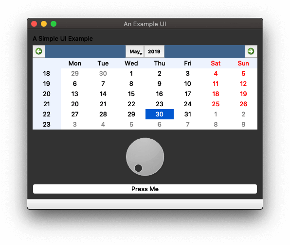 Example App in Dark Mode —PyQt 5.9, at least you can see some of the text