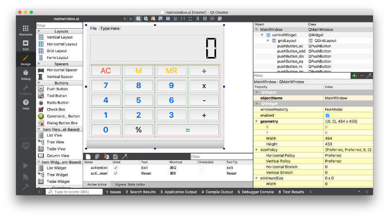 Defining the layout for the calculator in Qt Designer.