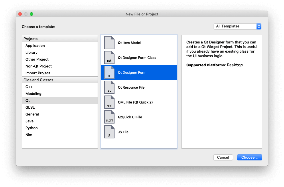 Qt Creator —Create a new Qt Designer Form