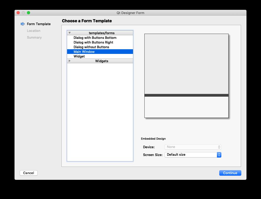 Qt Creator — Select MainWindow for widget type