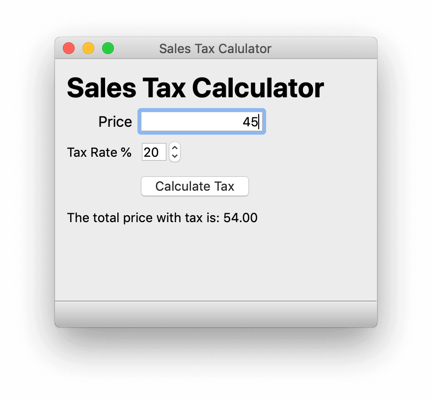 Simple Tax Calculator — Running, with logic