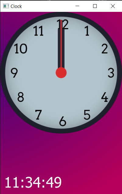 Clock face with all hands showing, pointing to 12