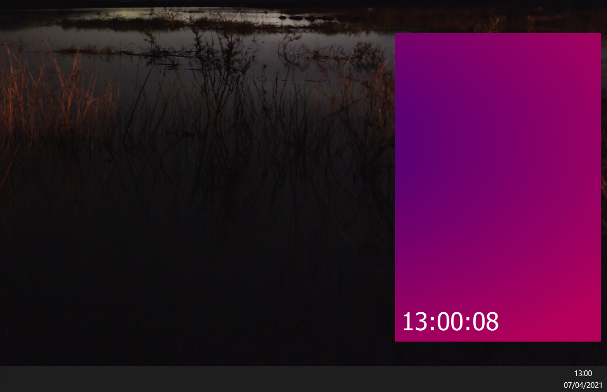 The current simple text clock with no window decorations