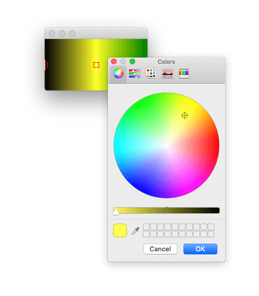 The colour picker popped-up by the Gradient widget